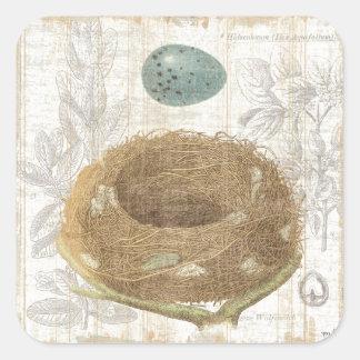 Le nid d'un oiseau avec un oeuf décoratif sticker carré