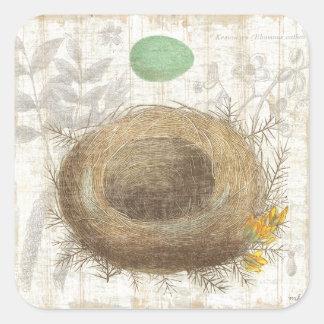 Le nid d'un oiseau avec un oeuf vert sticker carré