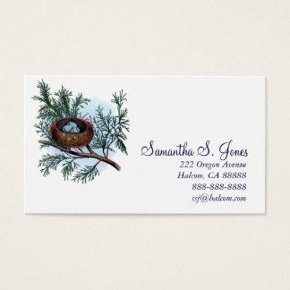 Le nid vintage du joli oiseau et la télécarte cartes de visite