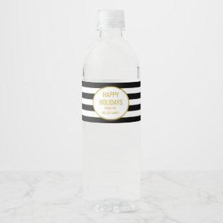 Le noir barre la coutume d'or bonnes fêtes étiquette pour bouteilles d'eau