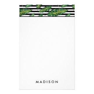 Le noir barre le motif tropical d'été de feuille papier à lettre personnalisable