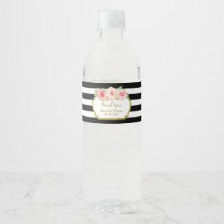 Le noir barre l'étiquette floral rose de bouteille étiquette pour bouteilles d'eau
