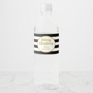 Le noir barre Noël fait sur commande d'or le Étiquette Pour Bouteilles D'eau
