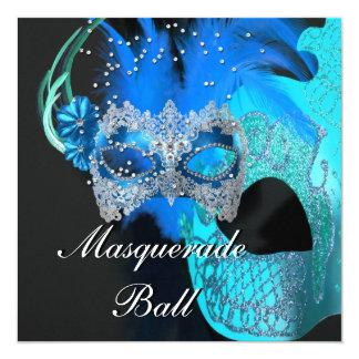 Le noir bleu turquoise masque la partie de boule carton d'invitation  13,33 cm