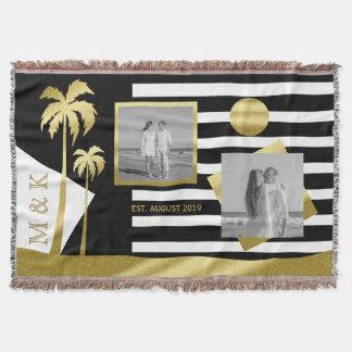 Le noir de plage d'or barre le monogramme de couverture