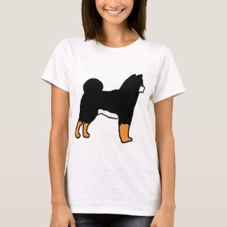 Le noir de silhouette de Shiba Inu et se bronzent T-shirt