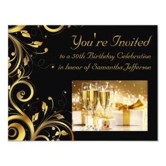 Le noir et l'or tourbillonnent, la cinquantième carton d'invitation 10,79 cm x 13,97 cm