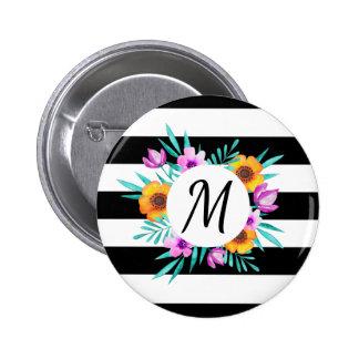 Le noir floral élégant de guirlande barre le badge