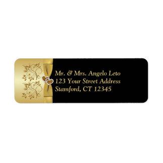 Le noir, or floral, coeurs renvoient l'étiquette étiquette d'adresse retour