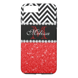 LE NOIR ROUGE CHEVRON DE SCINTILLEMENT BARRE LE COQUE iPhone 7 PLUS
