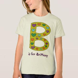 Le nom de B de lettre de la fille personnalisée T-Shirt