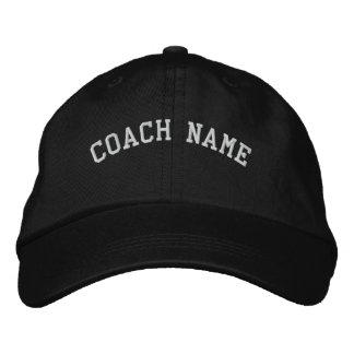 Le nom d'entraîneur a personnalisé le noir brodé casquette brodée