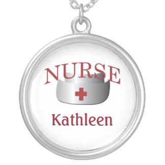 Le nom d'infirmière soigne Neklace fait sur Pendentif Rond