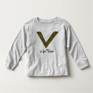 Le nom du garçon personnalisé initial de la lettre t-shirt pour les tous petits