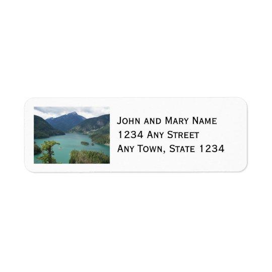 Le nord cascade la photo de lac diablo étiquette d'adresse retour