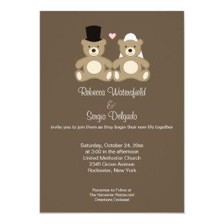 Le nounours a customisé le faire-part de mariage carton d'invitation  12,7 cm x 17,78 cm
