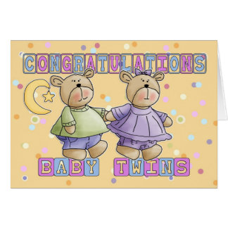 Le nouveau bébé jumelle des félicitations carte de vœux
