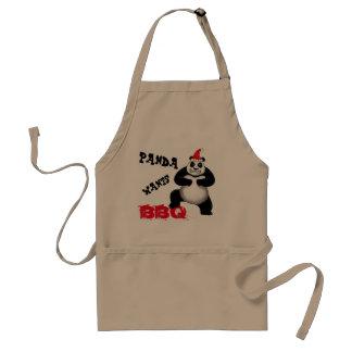 Le panda de vacances veut le tablier de BBQ