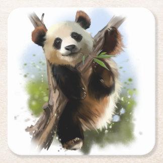 Le panda géant dessous-de-verre carré en papier