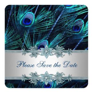 Le paon de bleu royal et d'argent font gagner la carton d'invitation  13,33 cm