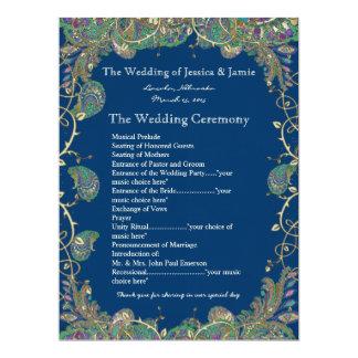 Le paon de Paisley colore le programme de mariage Invitations