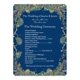 Le paon de Paisley colore le programme de mariage Carton D'invitation 16,51 Cm X 22,22 Cm