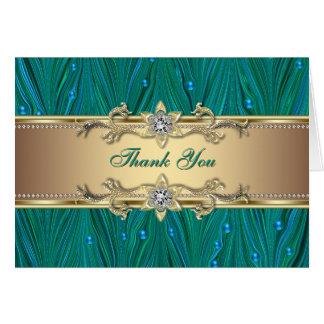 Le paon d'or perle le carte de remerciements