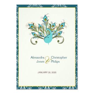 Le paon fait varier le pas de mariage damassé carton d'invitation  11,43 cm x 15,87 cm