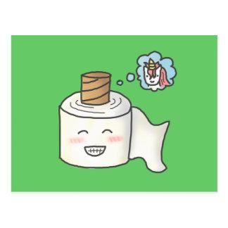 Le papier hygiénique drôle mignon le rêvant est cartes postales