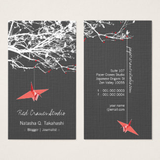 Le papier rouge japonais d'origami tend le cou cartes de visite