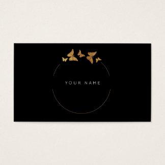 Le papillon entoure le noir d'or VIP d'aluminium Cartes De Visite