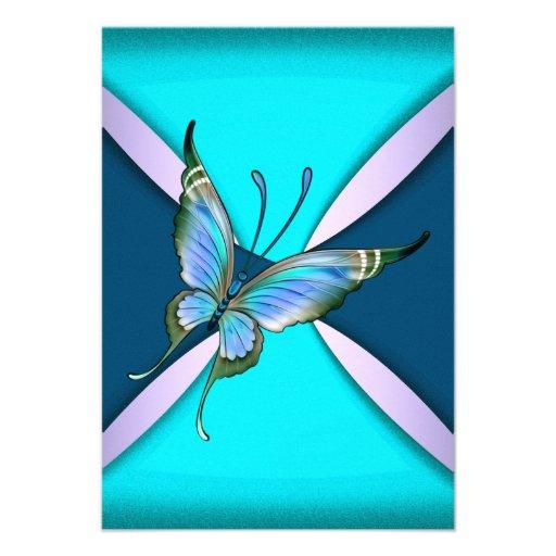 Le papillon turquoise pourpre RSVP font gagner la  Faire-part Personnalisés