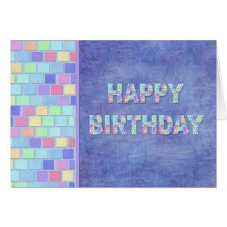 Le pastel couvre de tuiles l'anniversaire carte de vœux