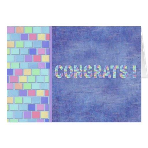 Le pastel de mosaïque couvre de tuiles Congrats Cartes De Vœux