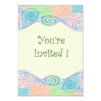 Le pastel tourbillonne baby shower carton d'invitation  12,7 cm x 17,78 cm