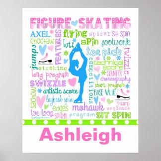 Le patineur artistique en pastel personnalisé affiches