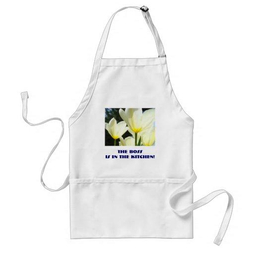 Le patron est dans la cuisine ! tulipes jaunes de  tabliers