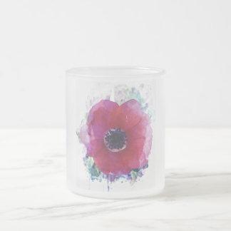 Le pavot rouge a givré la tasse #1 en verre givré