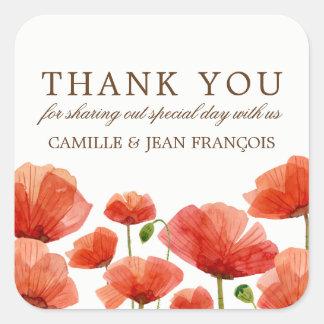 Le pavot rouge élégant fleurit le Merci de mariage Sticker Carré