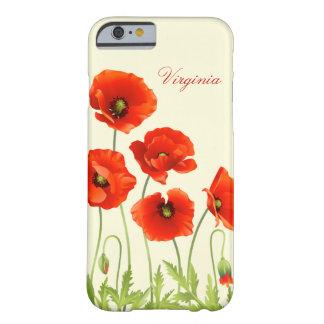 Le pavot rouge personnalisé fleurit la caisse de coque iPhone 6 barely there