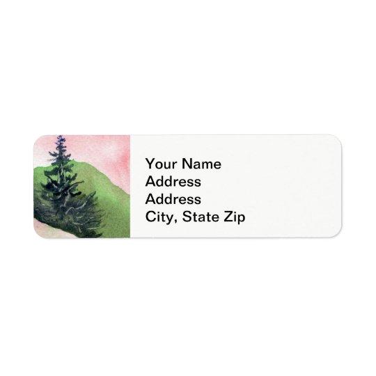 Le pays aménage la falaise pittoresque de pin de étiquette d'adresse retour