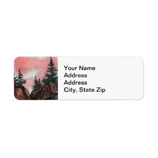 Le pays aménage le pin en parc de ciel de rose de étiquette d'adresse retour