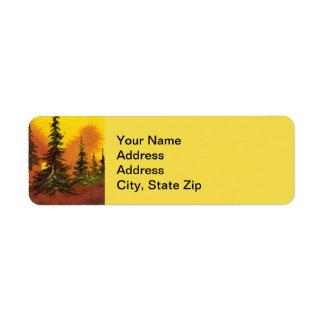Le pays aménage le pin jaune de ciel de coucher du étiquette d'adresse retour