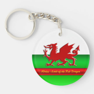 Le Pays de Galles - à la maison du dragon rouge, Porte-clé Rond En Acrylique Double Face