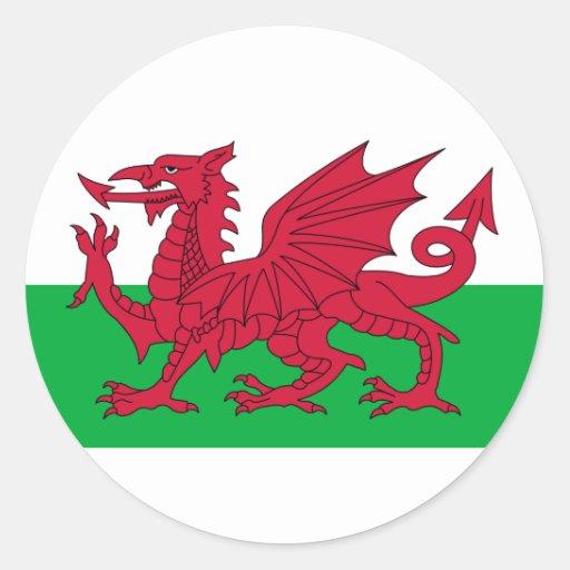 Le Pays de Galles Autocollants Ronds