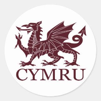 Le Pays de Galles CYMRU Autocollants Ronds
