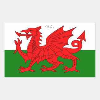 LE PAYS DE GALLES : Drapeau du Pays de Galles avec Sticker Rectangulaire
