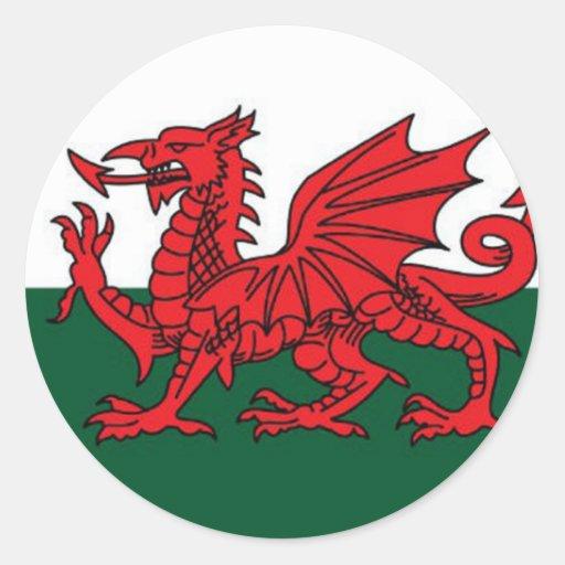 Le Pays de Galles - le drapeau de Cymru AM Byth Autocollants Ronds