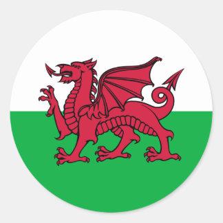 Le Pays de Galles - le drapeau de Gallois Adhésif Rond