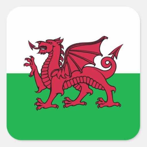 Le Pays de Galles - le drapeau de Gallois Stickers Carrés